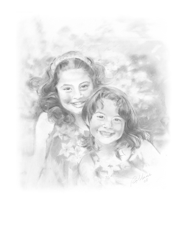 Two sisters portrait in charcoal