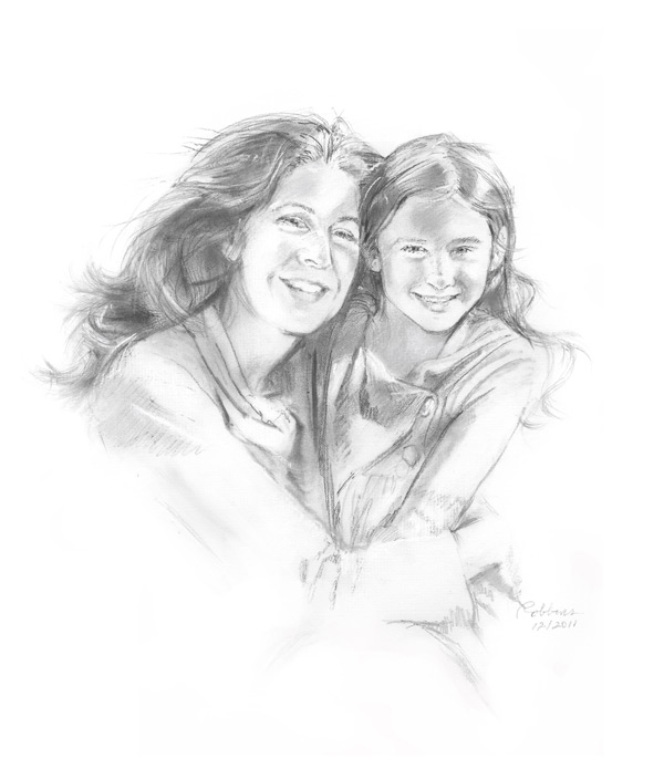Mother and daughter portrait in charcoal