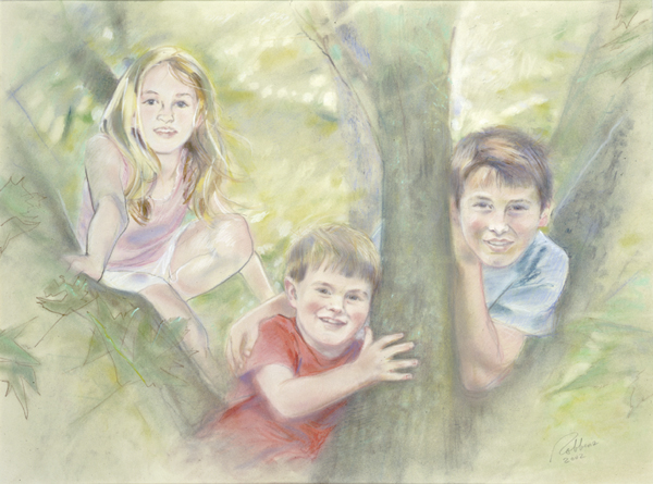 Portrait of sister and brother in pastel