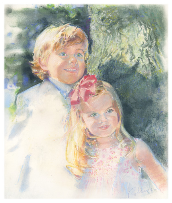 Portrait of a boy and girl in pastel