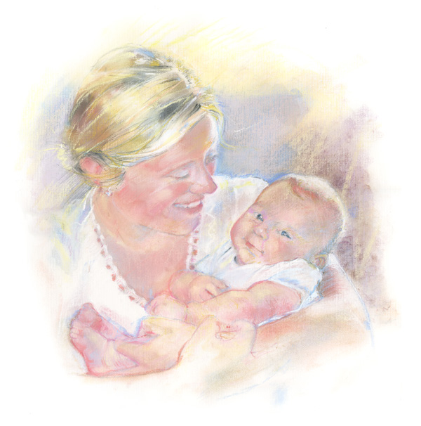 Portrait of a mother and infant in pastel