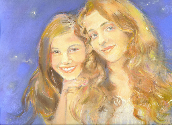 Portrait of two girls in pastel