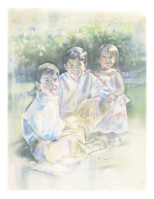 Portrait of brothers and sister in pastel