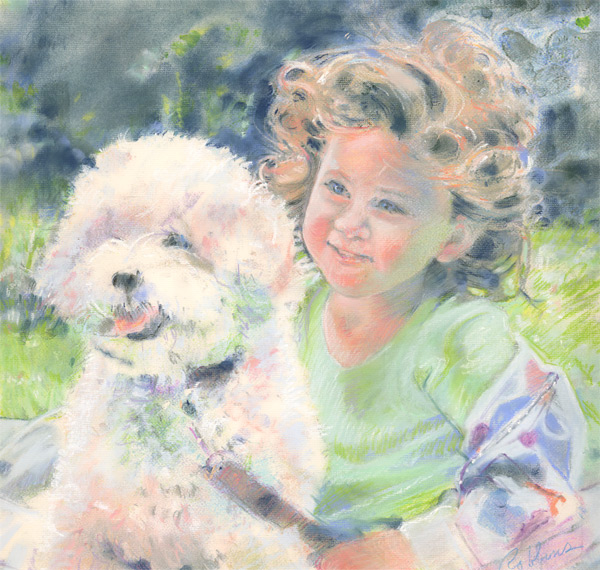Portrait of a girl and a dog in pastel