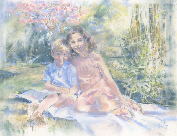 Portrait of brother and sister in pastel