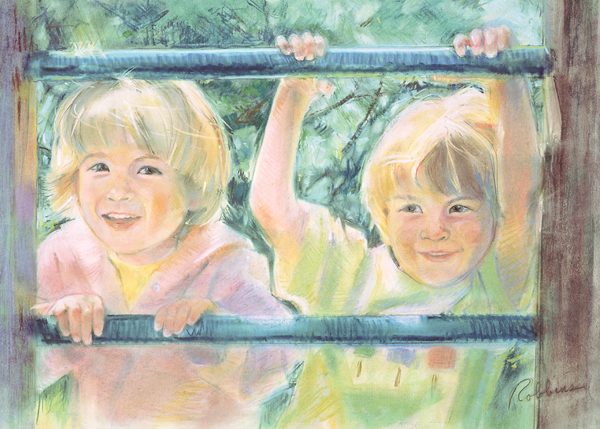 Portrait of brothers in pastel