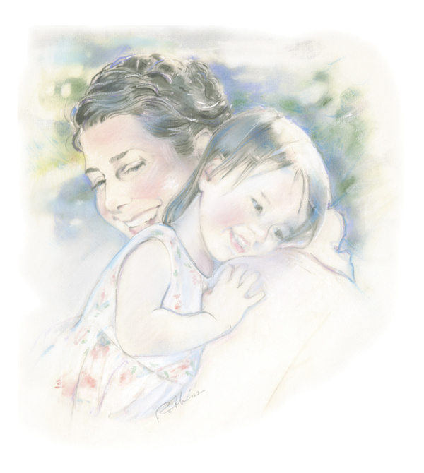 Portrait of mother and daughter in pastel